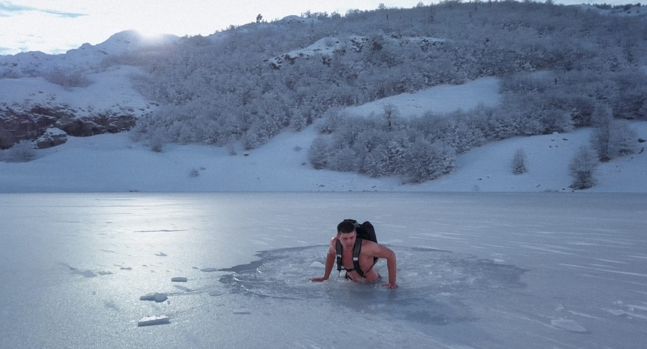 Maxim from Ukraine love taking a risk and swimming in cold Montenegrin lakes!