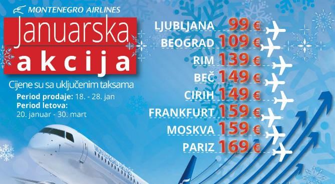 Januarska akcija u Montenegro Airlinesu, karte po povoljnim cijenama