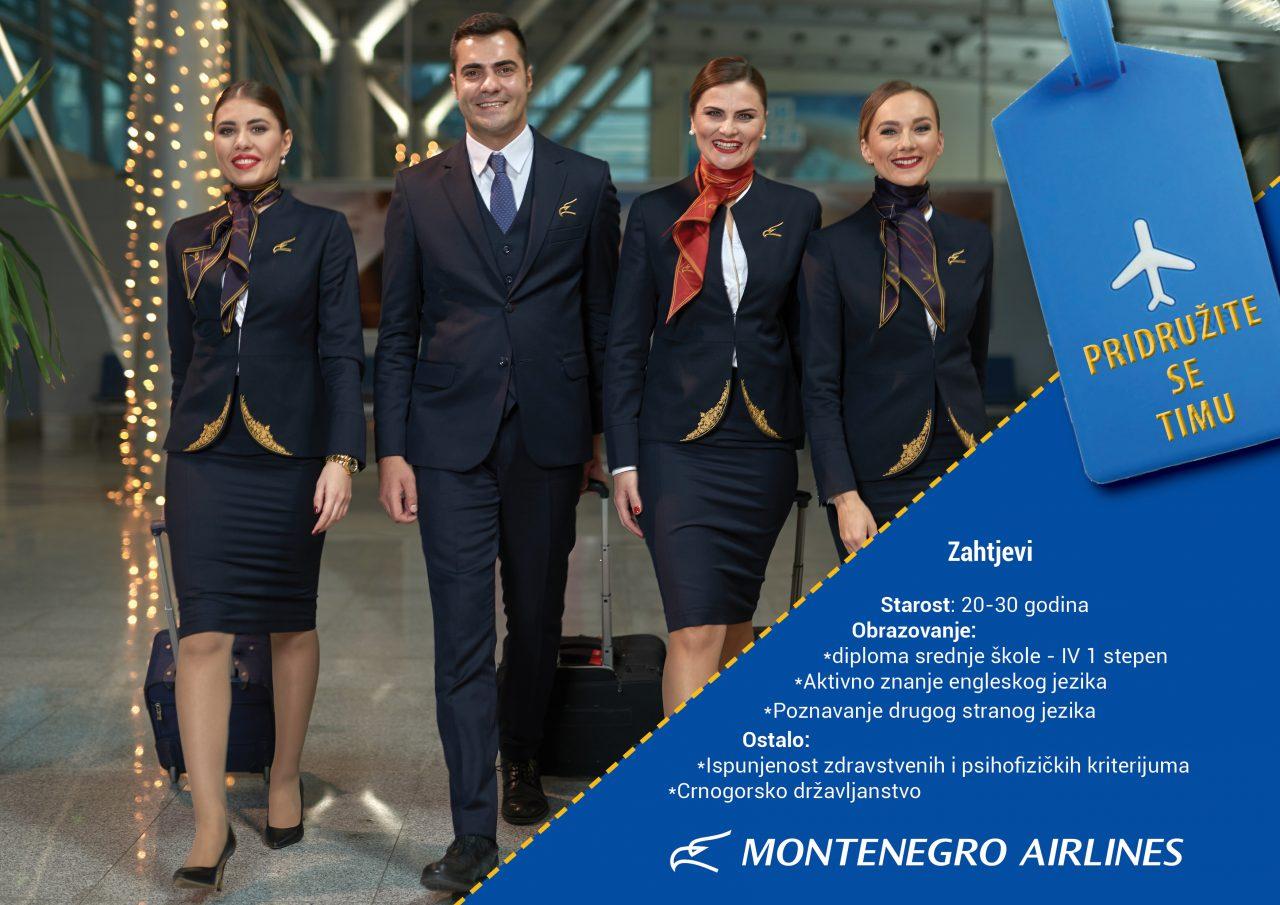 Montenegro Airlines traži novih 25 stjuardesa i stjuarda!