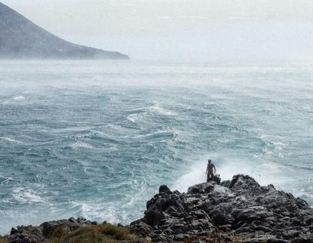 Maxim's new adventure: Swimming in rough sea during the storm in Budva