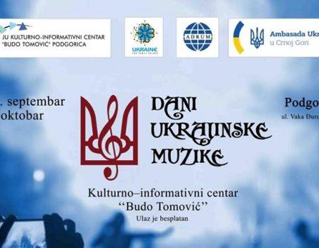 Dani ukrajinske muzike od 30. septembra do 6.oktobra u Podgorici