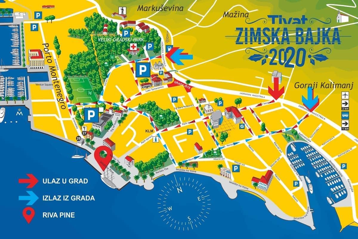 Mapa ulaska u Tivat tokom novogodišnjeg programa